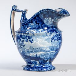 "Staffordshire Historical Blue Transfer-decorated ""Views of the Erie Canal"" Pitcher"