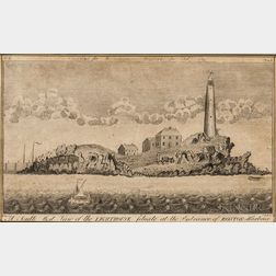 Boston, Four Small Engraved Views from Massachusetts Magazine  , 1789-1791.