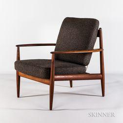 Grete Jalk for France & Son Upholstered Teak Lounge Chair