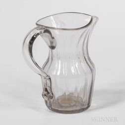 Small Ribbed Colorless Glass Small Pitcher