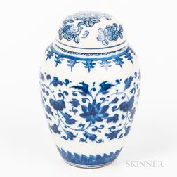 Small Blue and White Jar and Cover