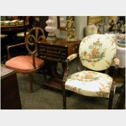 Two Louis XVI Style Upholstered Carved Mahogany Fauteuils.