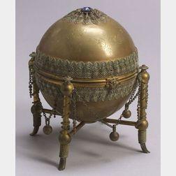 Victorian Gilt Metal Globe-form Standish