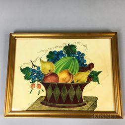 Framed Watercolor on Velvet Theorem of a Basket of Fruit