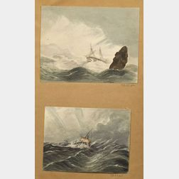 Attributed to Henry Schreiner Stellwagen (American, d. 1866)    Five Watercolor Views.