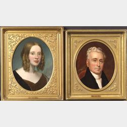 American School, 19th Century    Lot of Two Portraits:  Captain Laban Paddock
