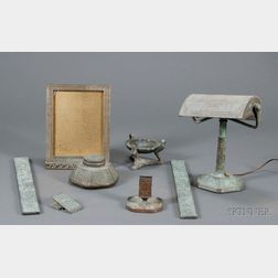 "Eight-Piece Tiffany Studios ""Zodiac"" Pattern Desk Set; Ashtray and Desk Lamp, Probably Tiffany Studios"