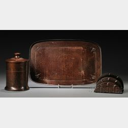 Roycroft Hammered Copper Tray, Covered Canister, and a Letter Holder