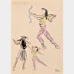 Christian Bérard, called Bébé (French, 1902-1949)      Three Costume Studies on a Single Sheet