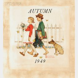 Norman Rockwell (American, 1894-1978)      Young Love: Walking to School
