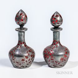 Pair of Gorham Silver Overlay Ruby Glass Colognes