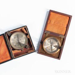 Two Edmund Draper Surveyor's Pocket Compasses