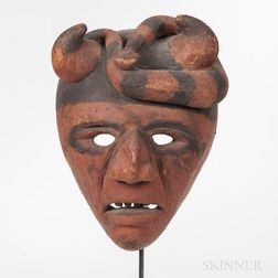 Cherokee Polychrome Carved Wood Mask