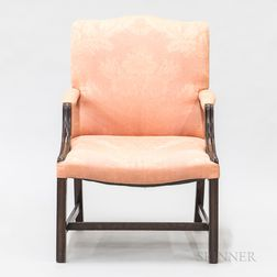Chippendale-style Upholstered Mahogany Library Chair