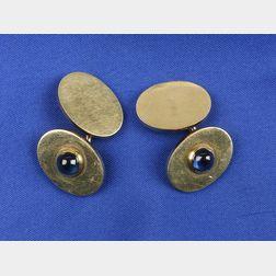Gentleman's Retro 14kt Gold and Sapphire Cuff Links