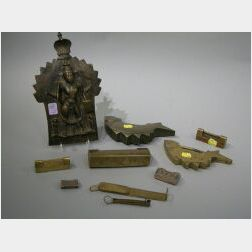 Seven Assorted Asian Brass and Silver Locks and a Hindu Bronze Plaque.