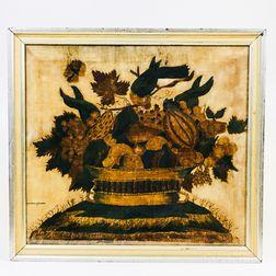 Framed Watercolor Theorem on Velvet with a Basket of Fruit and Birds
