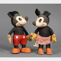 Cloth Mickey and Minnie Mouse by Knickerbocker