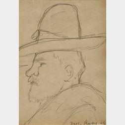 Diego Rivera (Mexican, 1886-1957)      Portrait of a Man in Profile