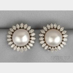 Platinum, Mabe Pearl, and Diamond Earclips