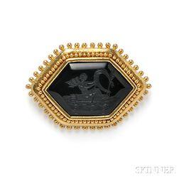 18kt Gold and Onyx Intaglio Pendant/Brooch, Elizabeth Locke