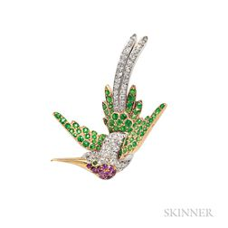 Fine Edwardian Demantoid Garnet, Ruby, and Diamond Bird Brooch