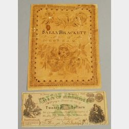 1768 Sally Brackett Ink Calligraphy Exercise on Paper and an 1862 State of   Mississippi Cotton Pledge $20 Bill