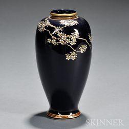 Royal Blue Satsuma Meiping   Vase