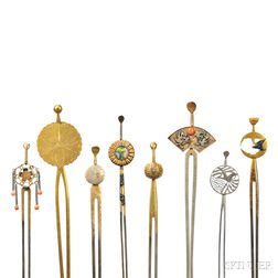 Eight Assorted Two-prong Metal Kanzashi   Hairpins
