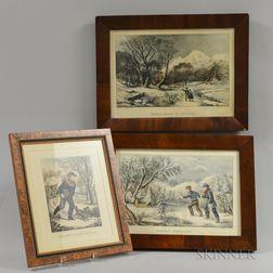 Three Framed Currier & Ives Engravings