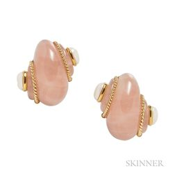 18kt Gold, Rose Quartz, and Cultured Pearl Earclips, Verdura
