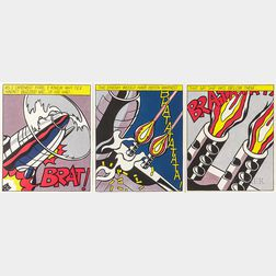 After Roy Lichtenstein (American, 1923-1997)      As I Opened Fire...  /A Triptych