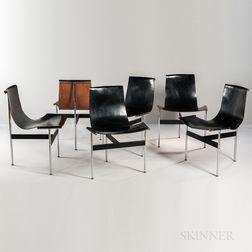 Six William Katavolos, Ross Littell & Douglas Kelley for Laverne International T-Chairs