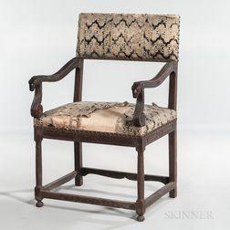 Louis XIII Walnut Upholstered Open Armchair