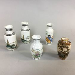 Five Small Chinese and Japanese Hand-painted Porcelain Vases