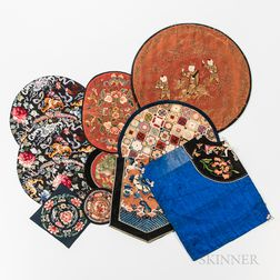 Group of Embroidered Textile Roundels and Accessories