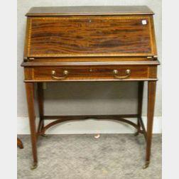 Maple & Co. Georgian-style Inlaid Mahogany Slant Lid Ladys Writing Desk.