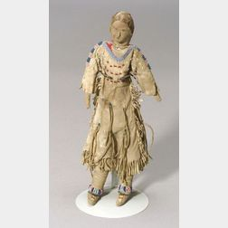 Northern Plains Beaded Hide and Cloth Female Doll