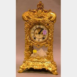 Ansonia Art Nouveau Gilt Floral Cast Metal and Glass Mantel Clock.