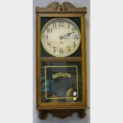 Wm. L. Gilbert Clock Co. Pressed Oak Barbershop Regulator Wall Timepiece