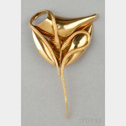 Artist-Designed 18kt Gold Brooch, Jean Filhos