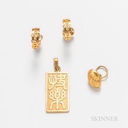 Three Pieces of High Karat Gold Jewelry