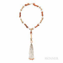 De Vera 18kt Gold, Petrified Coral, Black Diamond, and Diamond Necklace