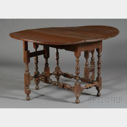 William & Mary Turned Cherry Gate-leg Table