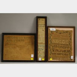 Three Framed 19th Century Needlework Samplers