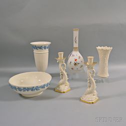 Six Wedgwood, Dresden, and Lenox Items
