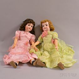 Two Large Armand Marseille Bisque Head Dolls