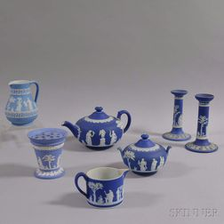 Seven Wedgwood Blue Jasper Items