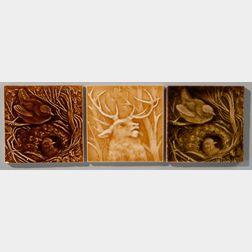 Three Providential Tile Works Wildlife Art Pottery Tiles
