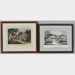 Two Currier & Ives, Publishers (American, 1857-1907) Lithographs A Home on the Mississippi